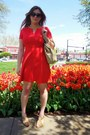 Ruby-red-dress-camel-bag