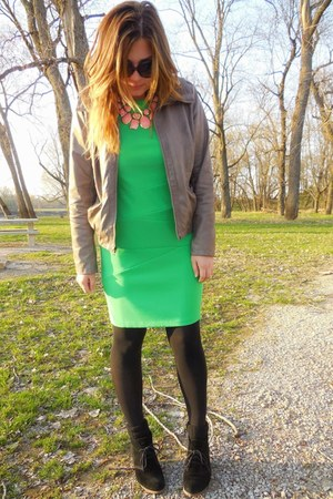green bodycon kohls dress - beige Target jacket - black Steve Madden wedges