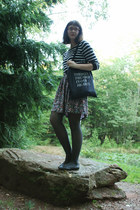 black striped Old Navy sweater - fieldguided bag - floral skirt