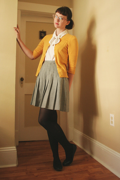 thrifted skirt - mustard Gap cardigan - black Old Navy flats