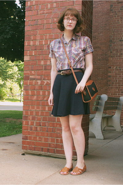 plaid thrifted shirt - navy thrifted skirt - woven leather thrifted sandals