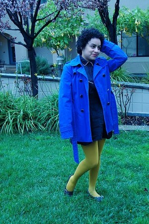 banana republic coat - Forever 21 tights - thrifted blouse - thrifted vintage sk