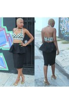 black peplum asos skirt - lime green bra-top asos top - gold gold Zara heels