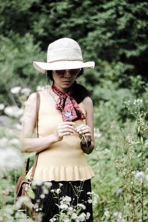 Rosegal hat - polygonal Rosegal sunglasses - yellow zaful top - zaful skirt