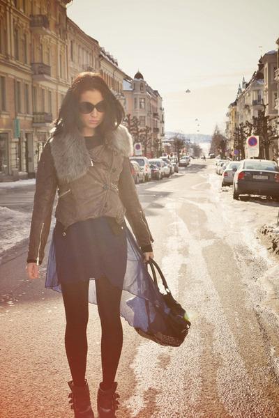 dark gray Din Sko boots - blue asos dress - brown karen millen jacket - black ka