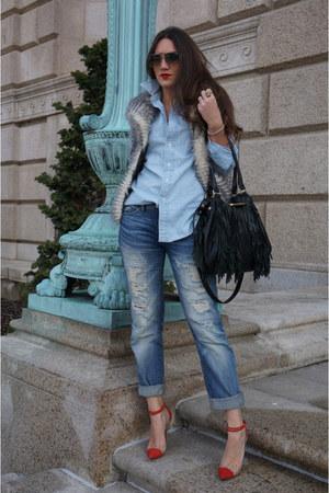 faux fur BB Dakota vest - boyfriend BLANKNYC jeans - menswear Ralph Lauren shirt