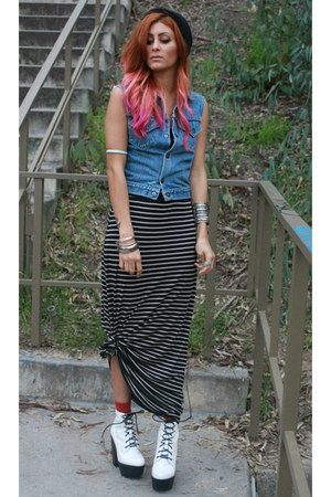 off white tardy Jeffrey Campbell boots - white striped maxi Sugarlips dress