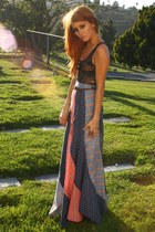 ruby red patchwork maxi vintage skirt - navy patchwork maxi vintage skirt
