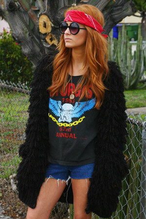 black shag vintage coat - red bandana vintage scarf - navy denim Wrangler shorts