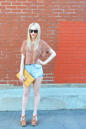 tawny Aldo shoes - burnt orange butterfly top H&amp;M shirt - mustard Aldo bag