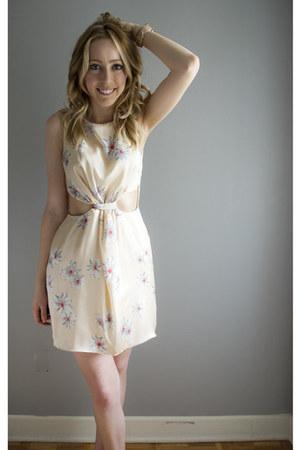 shell H&M earrings - daisy cut out Love dress - Michael Kors watch
