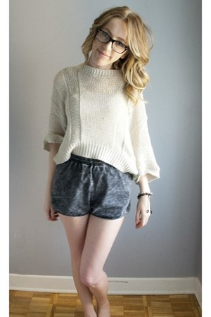 American Apparel shorts - woven Topshop sweater - ray-ban glasses