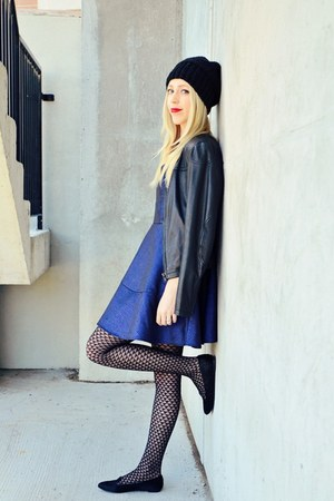 black Kate & Mel shoes - blue Express dress - black beanie Etsy hat