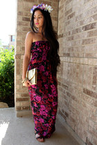 brown gladiator Diba sandals - hot pink floral maxi Wet Seal dress