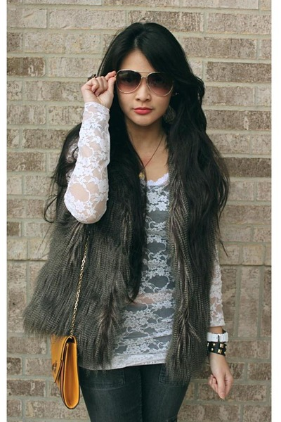fur Charlotte Russe vest - Wet Seal top