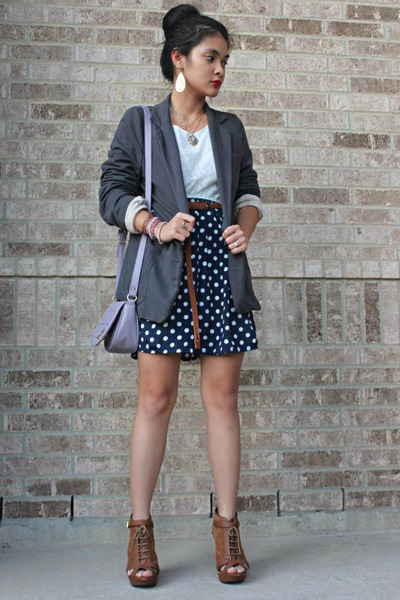 blazer - dress - peep toe wedges - braided belt