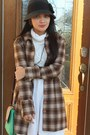 Checkered-coat-brown-shoes-ivory-old-navy-dress-black-woven-hat