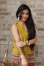 Gold-sling-mailman-bag-burnt-orange-tribal-pencil-579-skirt
