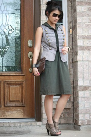 gray heels - army green dress - brown purse - heather gray vest