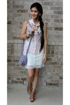 light purple sling studded Forever 21 purse - white lace Weaver skirt