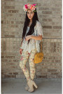 Eggshell-platform-boots-light-yellow-printed-floral-wet-seal-jeans