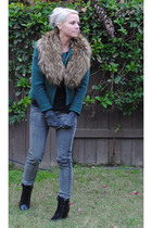 green thrifted blazer - silver Cheap Monday jeans - brown Forever 21 boots - H&M