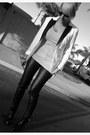 Black-glaze-boots-white-h-m-blazer-silver-tresics-shirt-black-h-m-pants