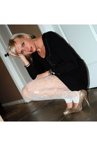 black thrifted dress - brown Nyla shoes - white Nordstrom leggings