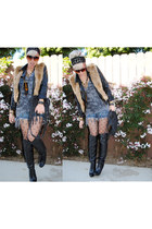 black Nyla boots - black f21 jacket - gray Billabong shirt - navy Target shorts