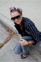 black f21 blazer - black random brand blouse - gray Cheap Monday jeans - pink f2