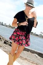 black random la shop blouse - pink f21 skirt - gold thrifted boots