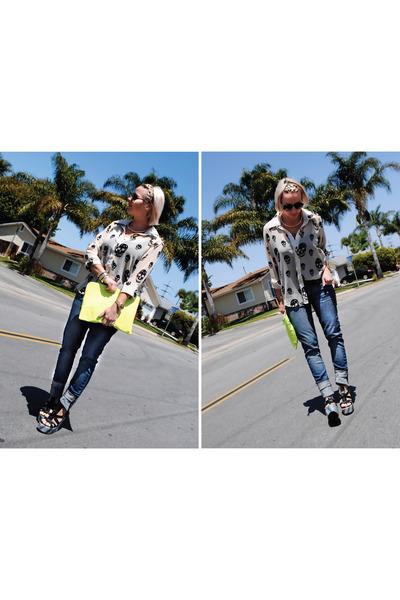 off white skull blouse blouse - navy Levis jeans