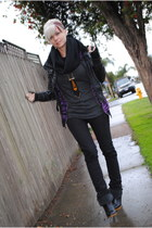 black random prague store boots - black Gstar jeans - gray Michelle shirt - deep