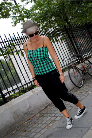 black From Prague pants - green Wet Seal top - black Chucks shoes - brown Topman