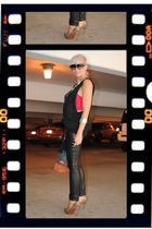 black XX diy band tee shirt - brown michael antonio shoes - black H&M pants