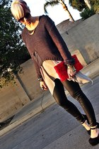 red H&M purse - heather gray fashion young sweater - silver long blouse blouse