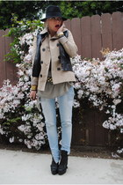 black Topshop boots - light blue H&M jeans - tan f21 jacket - olive green All Sa