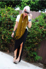 Silver-steve-madden-shoes-white-f21-shirt-olive-green-scarf-black-skirt