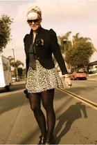 black Aldo shoes - black H&M blazer - black thirfted topshop shirt - eggshell H&