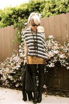 black Nyla boots - charcoal gray Prague jacket - white lbc shirt - gold H&M skir