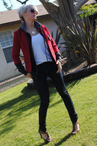 blue G-Star jeans - red Forever 21 blazer - white Forever 21 t-shirt - brown Vic