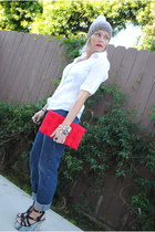 navy thrifted Levis jeans - white f21 shirt - ruby red H&M purse - Santee Alley
