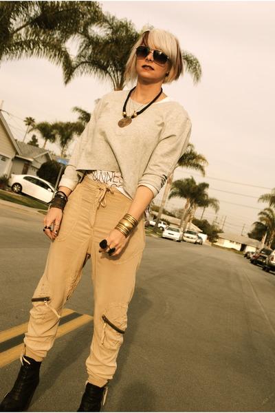 black Topshop boots - silver H&M sweatshirt - camel H&M pants - white f21 t-shir