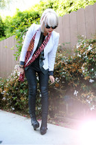 black Topshop boots - white H&M blazer - charcoal gray Michelle shirt - black th