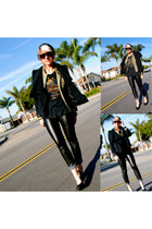 black Mossimo jacket - dark khaki harley t-shirt - black H&M pants - black Bambo