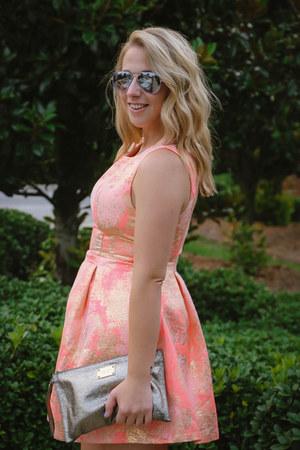 metallic clutch Michael Kors bag - Styledwell dress
