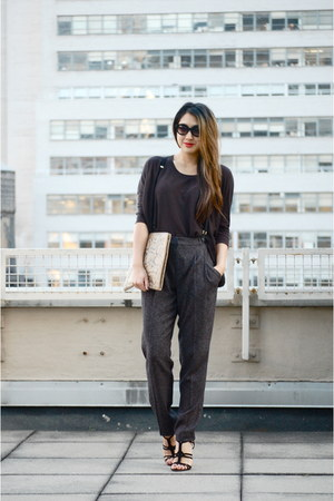 gray suspenders rachel roy pants - dark gray cotton H&amp;M shirt