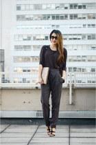 gray suspenders rachel roy pants - dark gray cotton H&M shirt