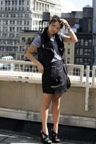 banana republic skirt - rachel roy shirt - Jcrew purse - suede YSL wedges