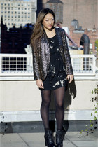 sequined Zara jacket - leather Nine West shoes - LF dress - leather Jcrew purse